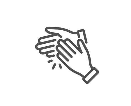 Icona della linea di applausi delle mani. Segno di applauso. Simbolo del gesto di vittoria. Elemento di design di qualità. Icona delle mani d'applauso di stile lineare. Tratto modificabile. Vettore Vettoriali