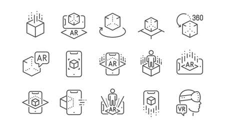 Augmented reality line icons. VR simulation, Panorama view, 360 degrees. Virtual reality gaming, augmented, full rotation arrows icons. Linear set. Vector