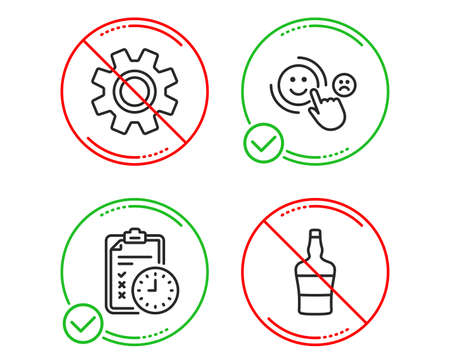 Do or Stop. Exam time, Service and Customer satisfaction icons simple set. Scotch bottle sign. Checklist, Cogwheel gear, Happy smile. Brandy alcohol. Line exam time do icon. Prohibited ban stop Illustration