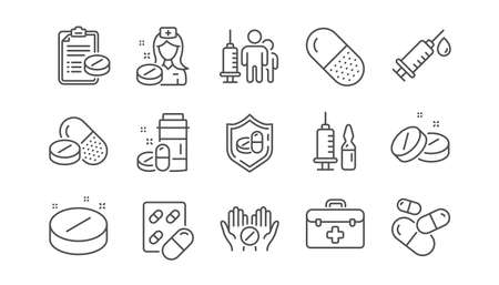 Medical drugs line icons. Healthcare, Prescription and Pill signs. Pharmacy drugs, recipe pill icons. Antibiotic capsule, syringe vaccination. Linear set. Vector