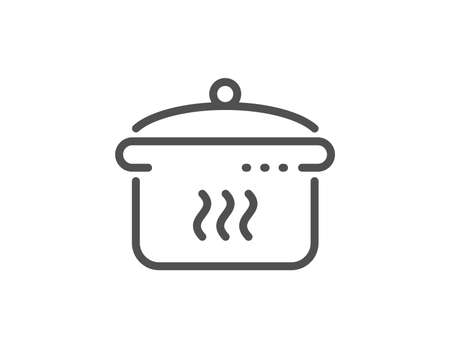 Boiling pan line icon. Cooking sign. Food preparation symbol. Quality design element. Linear style boiling pan icon. Editable stroke. Vector  イラスト・ベクター素材