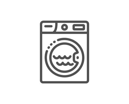 Laundry line icon. Washing machine sign. Hotel service symbol. Quality design element. Linear style laundry icon. Editable stroke. Vector