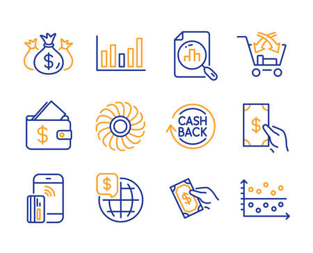 Fan engine, World money and Cashback icons simple set. Analytics graph, Column chart and Cross sell signs. Wallet, Pay money and Contactless payment symbols. Check investment, Dot plot. Vector