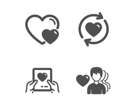 Set of Update relationships, Love mail and Hearts icons. Man love sign. Valentine letter, Romantic relationships, Romantic people.  Classic design update relationships icon. Flat design. Vector