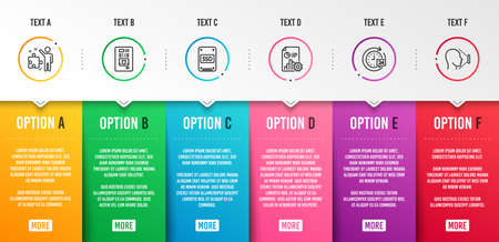 Coffee vending, Ssd and Strategy icons simple set. Report, 24h delivery and Face id signs. Coffee vending machine, Solid-state drive. Technology set. Infographic template. 6 steps timeline. Vector