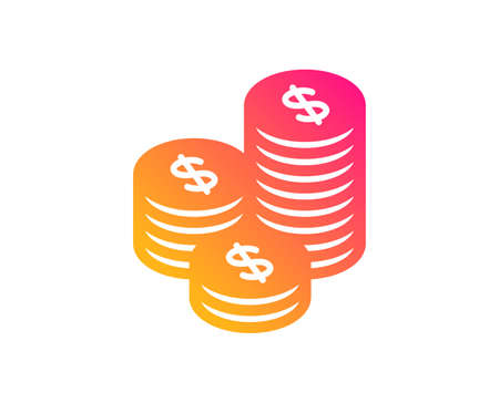 Coins money icon. Banking currency sign. Cash symbol. Classic flat style. Gradient coins icon. Vector