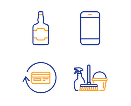 Smartphone, Refund commission and Whiskey bottle icons simple set. Household service sign. Cellphone or phone, Cashback card, alcohol. Cleaning equipment. Linear smartphone icon. Vector