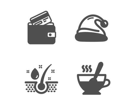 Set of Debit card, Santa hat and Serum oil icons. Tea cup sign. Wallet with credit card, Christmas, Healthy hairs. Coffee with spoon.  Classic design debit card icon. Flat design. Vector Illustration