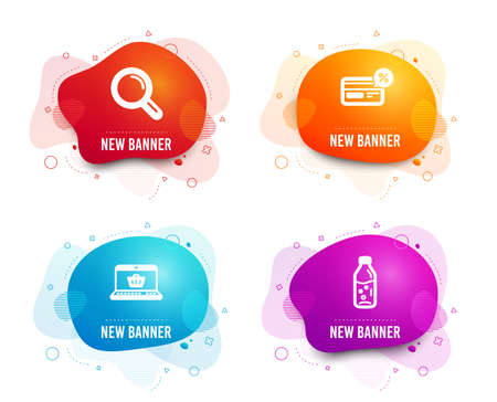 Liquid badges. Set of Research, Online shopping and Cashback icons. Water bottle sign. Magnifying glass, Notebook with shopping cart, Non-cash payment. Soda drink.  Gradient research icon. Vector