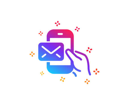 Messenger Mail icon. New newsletter sign. Phone E-mail symbol. Dynamic shapes. Gradient design messenger Mail icon. Classic style. Vector