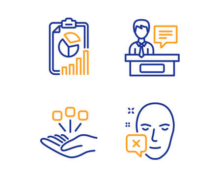 Report, Consolidation and Exhibitors icons simple set. Face declined sign. Presentation chart, Strategy, Information desk. Identification error. Science set. Linear report icon. Colorful design set Illustration
