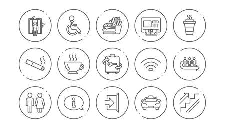 Public services line icons. Elevator, Taxi and Wifi internet. Fast food linear icon set. Line buttons with icon. Editable stroke. Vector