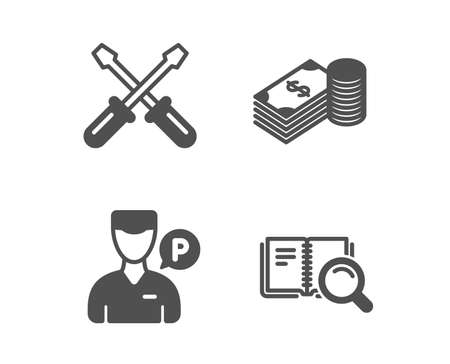 Set of Valet servant, Screwdriverl and Savings icons. Search book sign. Parking man, Repair tool, Finance currency. Online education.  Classic design valet servant icon. Flat design. Vector