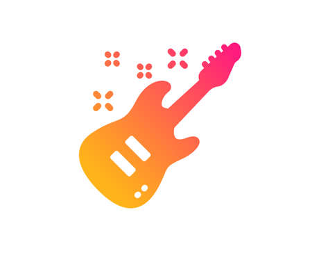Electric guitar icon. Music sign. Musical instrument symbol. Classic flat style. Gradient electric Guitar icon. Vector Illustration