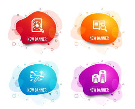 Liquid badges. Set of Analytics graph, Airplane travel and Search text icons. Currency sign. Chart report, Trip flight, Open book. Euro and usd.  Gradient analytics graph icon. Flyer fluid design