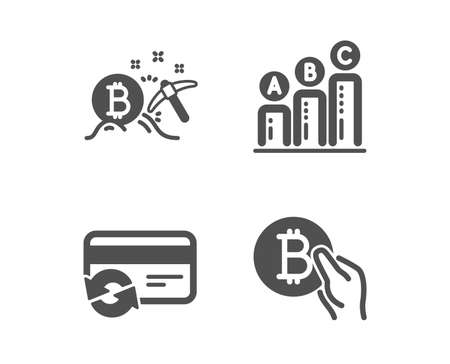 Set of Change card, Bitcoin mining and Graph chart icons. Bitcoin pay sign. Payment method, Cryptocurrency pickaxe, Growth report. Cryptocurrency coin.  Classic design change card icon. Flat design