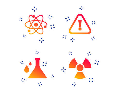 Attention and radiation icons. Chemistry flask sign. Atom symbol. Random dynamic shapes. Gradient attention icon. Vector Ilustrace