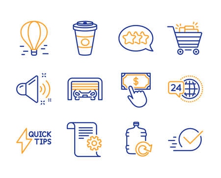 Shopping cart, Air balloon and Takeaway coffee icons simple set. Stars, Parking garage and Payment click signs. Loud sound, Refill water and 24h service symbols. Line shopping cart icon. Colorful set