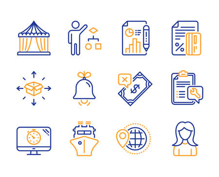 Circus tent, Spanner and Report document icons simple set. Credit card, Rejected payment and Parcel delivery signs. Bell, Seo timer and Algorithm symbols. World travel, Ship and Woman. Vector