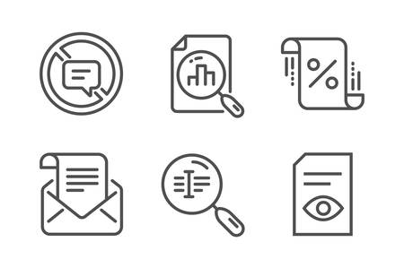 Stop talking, Search text and Loan percent icons simple set. Analytics graph, Mail newsletter and View document signs. Do not talk, Find word. Technology set. Line stop talking icon. Editable stroke