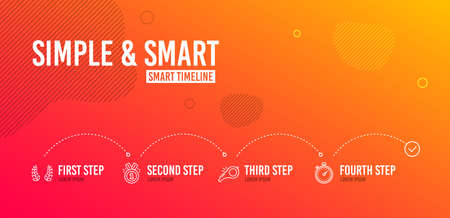 Infographic timeline. Approved, Laurel wreath and Whistle icons simple set. Timer sign. Winner badge, Laureate reward, Kick-off. Stopwatch gadget. Sports set. 4 steps layout. Line approved icon. Vector Illustration