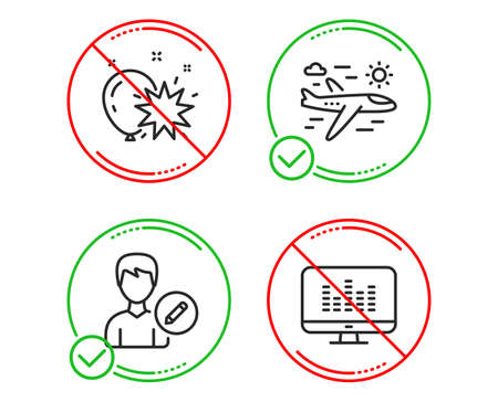 Do or Stop. Balloon dart, Airplane travel and Edit person icons simple set. Music making sign. Attraction park, Trip flight, Change user info. Dj app. Line balloon dart do icon. Prohibited ban stop