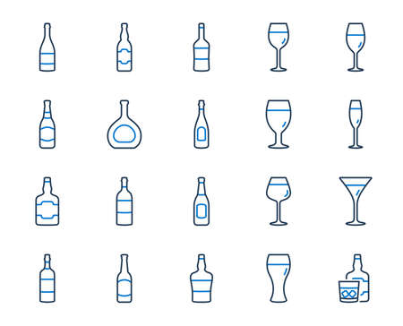 Wine bottle line icons. Set of Craft beer, Whiskey and Wine glass icons. Champagne bottle, Alcohol drink with ice. Wineglass, Beer glass and Restaurant goblet signs. Beverage drink. Vector Stock Illustratie