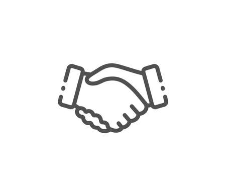 Handshake line icon. Hand gesture sign. Business deal palm symbol. Quality design element. Linear style handshake icon. Editable stroke. Vector