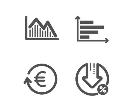 Set of Investment graph, Horizontal chart and Exchange currency icons. Loan percent sign. Investment infochart, Presentation graph, Reshresh exchange rate. Decrease rate. Vector Çizim