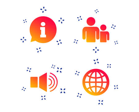 Information sign. Group of people and speaker volume symbols. Internet globe sign. Communication icons. Random dynamic shapes. Gradient communication icon. Vector