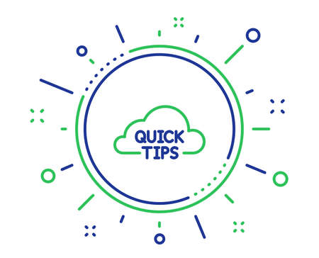 Quick tips cloud line icon. Helpful tricks sign. Quality design elements. Technology quick tips button. Editable stroke. Vector