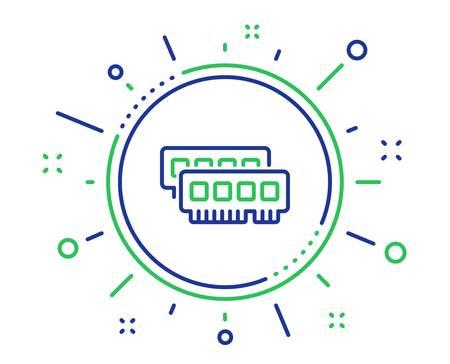 Ram line icon. Computer random-access memory component sign. Quality design elements. Technology ram button. Editable stroke. Vector