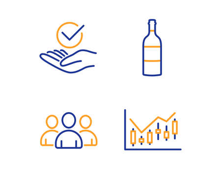 Group, Wine bottle and Approved icons simple set. Financial diagram sign. Group of users, Cabernet sauvignon, Verified symbol. Candlestick chart. Business set. Linear group icon. Colorful design set