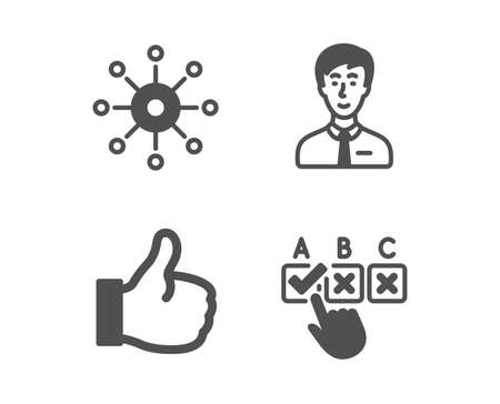 Set of Multichannel, Businessman person and Like icons. Correct checkbox sign. Multitasking, Male user, Thumbs up. Answer.  Classic design multichannel icon. Flat design. Vector