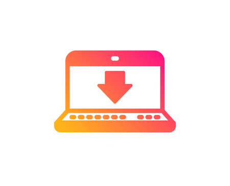 Download icon. Internet Downloading with Laptop sign. Load file symbol. Classic flat style. Gradient internet downloading icon. Vector