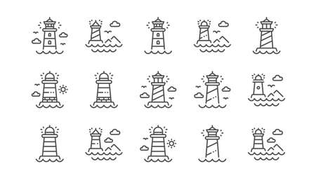 Lighthouse line icons. Searchlight tower with seagull for marine navigation of ships. Sea pharos, lighthouse or beacon icons. Linear set. Vector
