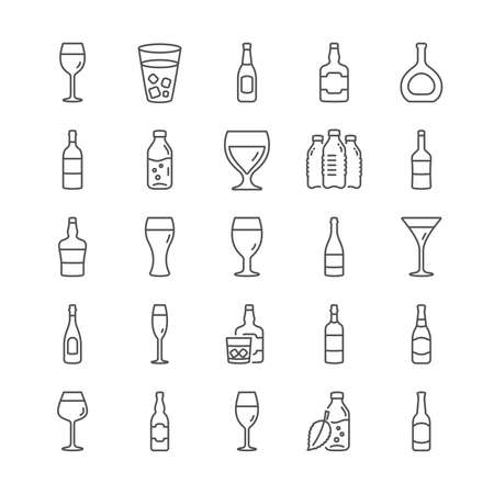 Wine bottle line icons. Set of Wine glass, Craft beer and Whiskey icons. Champagne bottle, Alcohol drink with ice. Wineglass, Beer glass and Restaurant goblet signs. Beverage drink. Vector