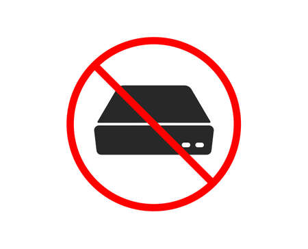 No or Stop. Mini pc icon. Small computer device sign. Prohibited ban stop symbol. No mini pc icon. Vector
