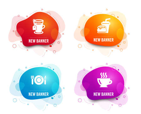 Liquid badges. Set of Tea, Food and Hamburger icons. Coffee sign. Glass mug, Restaurant, Burger with drink. Cappuccino.  Gradient tea icon. Flyer fluid design. Abstract shapes. Vector Standard-Bild - 126981249
