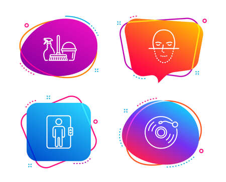 Elevator, Face recognition and Household service icons simple set. Vinyl record sign. Office transportation, Faces biometrics, Cleaning equipment. Retro music. Business set. Vector  イラスト・ベクター素材