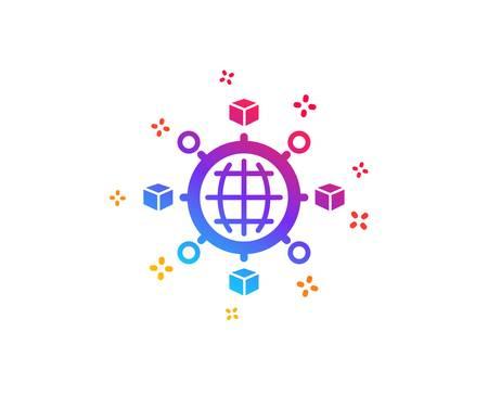 Logistics network icon. Parcel tracking sign. Goods distribution symbol. Dynamic shapes. Gradient design logistics network icon. Classic style. Vector Illustration