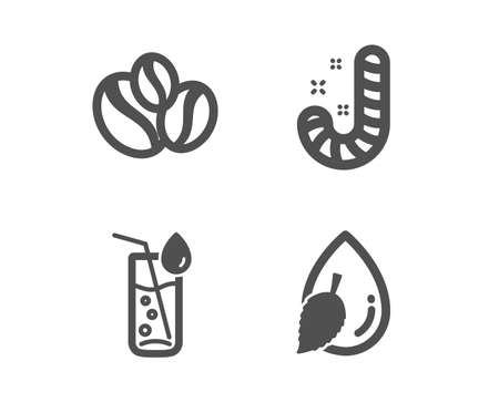 Set of Candy, Water glass and Coffee-berry beans icons. Water drop sign. Lollypop, Soda drink, Coffee beans. Mint leaf.  Classic design candy icon. Flat design. Vector