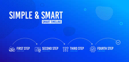 Infographic timeline. Spanner tool, Bitcoin and Reject certificate icons simple set. Service sign. Repair screwdriver, Cryptocurrency coin, Decline file. Cogwheel gear. Technology set. Vector