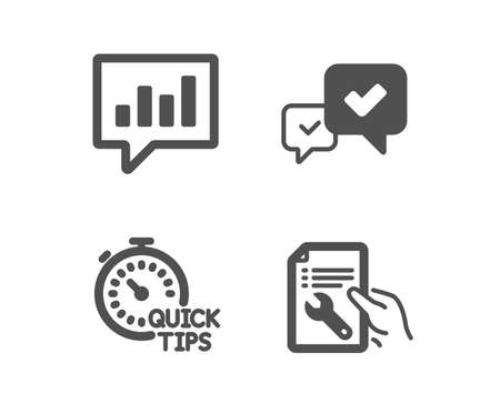 Set of Quick tips, Approve and Analytical chat icons. Repair document sign. Helpful tricks, Accepted message, Communication speech bubble. Spanner tool. Classic design quick tips icon. Flat design