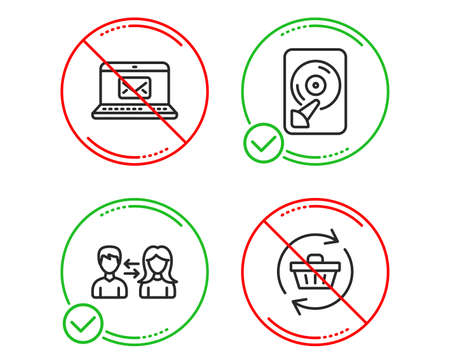 Do or Stop. E-mail, Hdd and People communication icons simple set. Refresh cart sign. New message, Memory disk, People talking. Online shopping. Business set. Line e-mail do icon. Prohibited ban stop Çizim