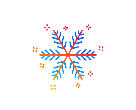 Snowflake line icon. Christmas snow sign. Winter or cold symbol. Gradient design elements. Linear snowflake icon. Random shapes. Vector