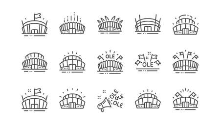 Sports stadium line icons. Ole chant, arena football, championship architecture. Arena stadium, sports competition, event flag icons. Sport complex linear set. Vector Illusztráció