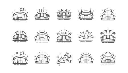 Symbole für die Linie des Sportstadions. Ole-Gesang, Arena-Fußball, Meisterschaftsarchitektur. Arena-Stadion, Sportwettbewerb, Event-Flaggensymbole. Sportkomplexer linearer Satz. Vektor