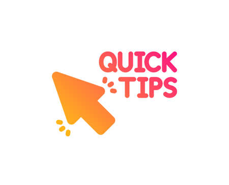 Quick tips click icon. Helpful tricks sign. Classic flat style. Gradient quick tips icon. Vector 写真素材 - 126993272