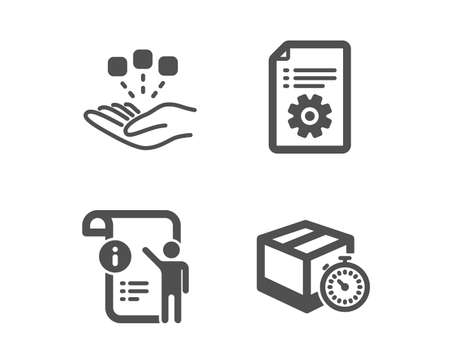 Set of Technical documentation, Manual document and Consolidation icons. Delivery timer sign. Manual, Project info, Strategy. Express logistics.  Classic design technical documentation icon. Flat design